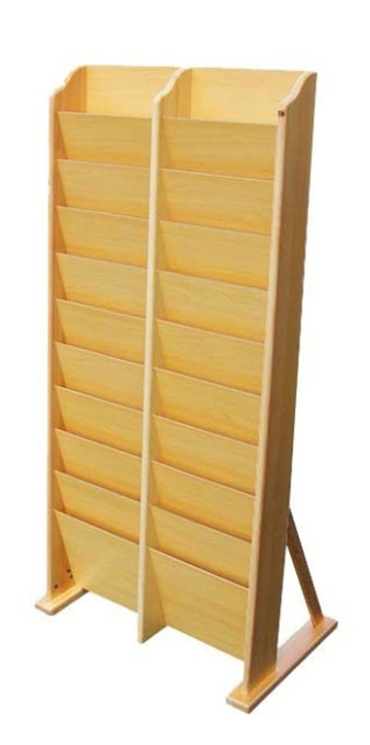20-Pocket Wooden Magazine Stand