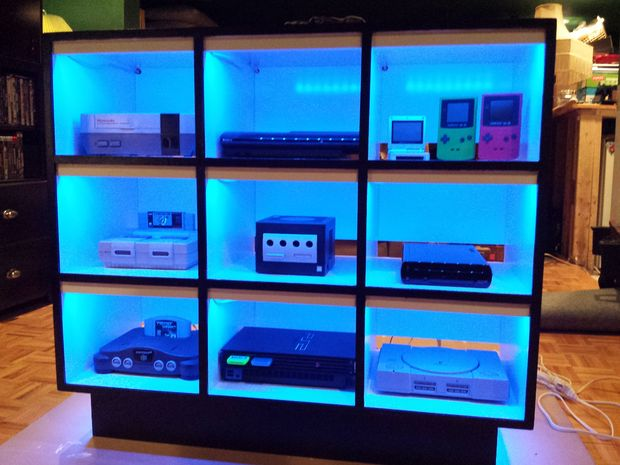 video game console spotlight shelves LEDs